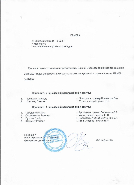 Поздравляем Бусарева Леонида и Крылова Данила с присвоением им 2 юношеского, Гвоздева Матвея, Ов